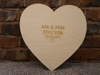 Personalised Wooden Wedding Guest Board: Heart Engraved Signature Guestbook