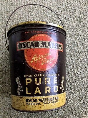 Vintage Oscar Mayer's 8 LB Lard Tin pail bucket Madison