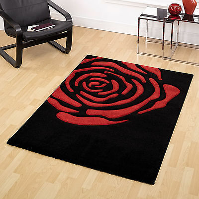 Quality Black Red Rose Design 14mm Thick Soft Carved Modern Monte Carlo Rugs