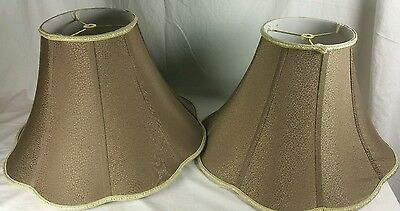 1 pair of large brown scallop  texture bell gold trim silk table lamp shade