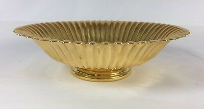 Valerio Electroplated 24 Karat Gold Silverplated Ripple Scalloped Edge Bowl