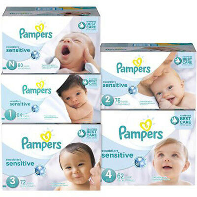 Pampers Swaddlers Sensitive Baby Diapers VALUE Size N 1 2 3 4 CHEAP!!! NO TAX!!!