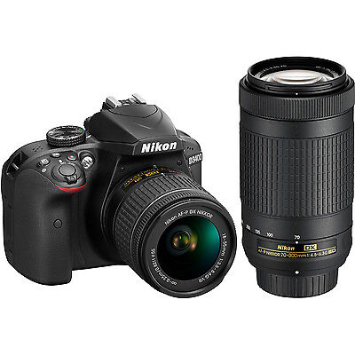 Nikon D3400 24.2MP Digital SLR Camera AF-P 18-55mm VR&70-300mm DualZoom Lens Kit