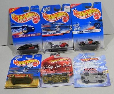 Hot Wheels Mixed lot  6 Steel Stamp Whatta Drag Ford GT Holiday Hot Rods Bag 99