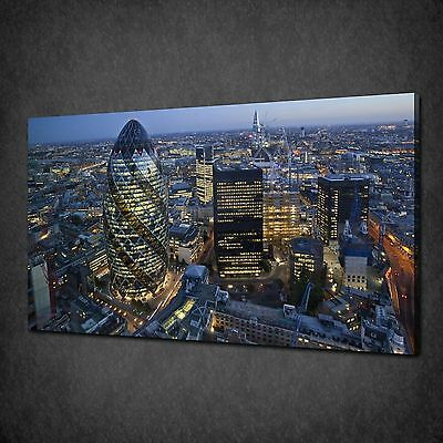 Night In London City Skyline Modern Canvas Print Picture Ready To Hang