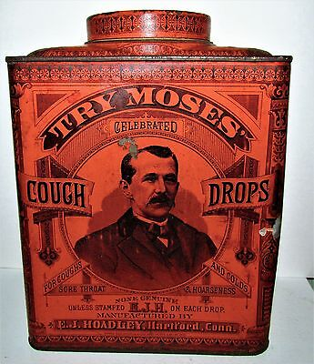TRY MOSES CELEBRATED COUGH DROPS  5lb Tin EJ Bromley Hartford CT