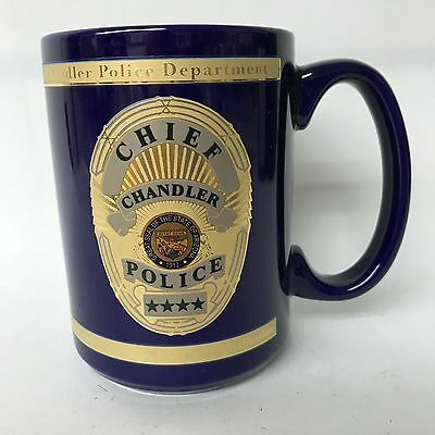 Police Chief Chandler Porcelain Cobalt Blue W Gold Accents Coffee Mug New