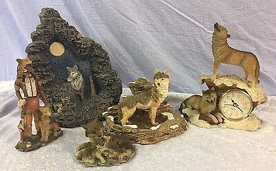 Resin Wolf Figurine Collection 5 piece lot
