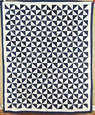 OUTSTANDING Vintage 1880's Indigo Blue & White Broken Dishes Antique Quilt!
