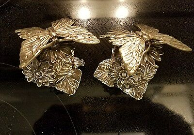 2 Reed & Barton Silverplate 1824 collection Figural Butterfly napkin Ring Rings