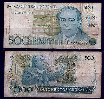 Brazil, 500 Cruzados, Notes,currency,paper Money, Circulated