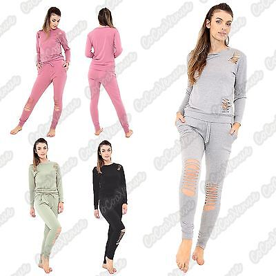 New Ladies Long Sleeve Distressed Ripped Top Bottoms Suit Lounge Wear Tracksuit
