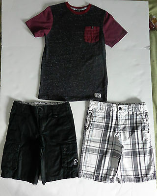 BOYS SHAWN WHITE Cargo Shorts (2) Pair and T-Shirt Top. Size 12
