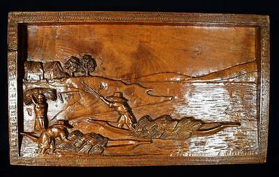 Antique Chinese High Relief Wood Plaque, C.1900s-1920s