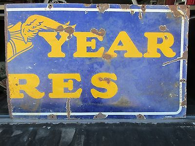 Good Year Tires Vintage Porcelain Enamel Sign Auto Related Genuine Broken