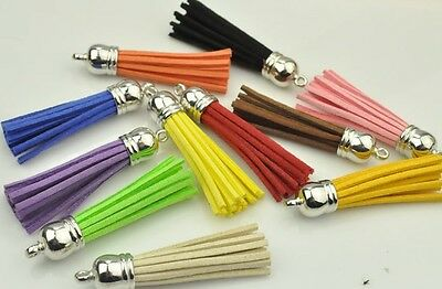 55mm Suede Tassels | 10pcs | Mixed Colours | Silver Tone Bail Top