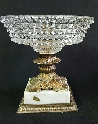 Vintage Crystal Dish Metal & Marble Base Stand Compote Fruit Bowl Candy