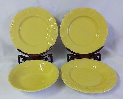 """VINTAGE IRONSTONE FEDERALIST BUTTERCUP YELLOW 4pc  1 cereal 3 - 8"""" saucer desert"""