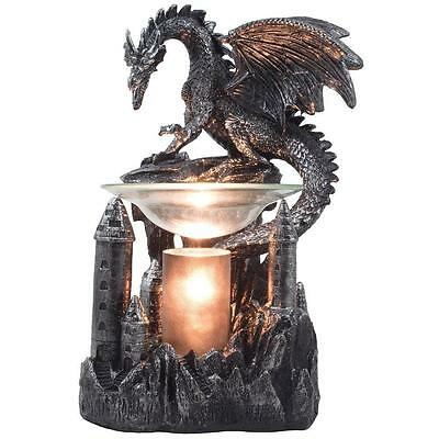 Mythical Winged Dragon Castle Electric Oil Warmer Wax Burner Medieval Gothic NEW