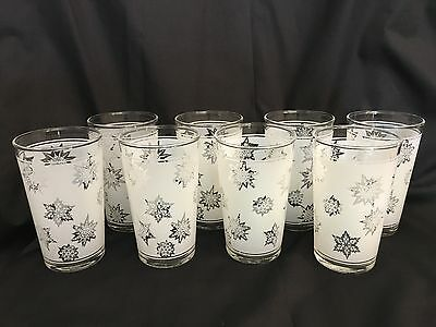 Vintage Federal Frosted Snowflake Tumbler Glasses Set of 8. Excellent Condition