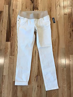 New Old Navy Maternity Bright White Low Rise Knit Panel Stretch Skinny Jeans 4