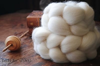 Undyed Natural White Romney Combed Top Wool Roving Spinning Felting fiber 4 oz