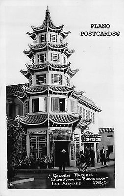 "Los Angeles, California ""Golden Pagoda-Chinatown"" Rppc Real Photo Postcard"