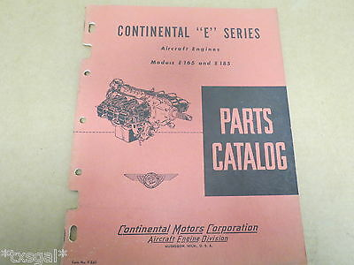 ORIGINAL 1949 Continental E165 & E185 Aircraft Engine Parts Catalog