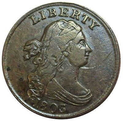 1803 United States Draped Bust Half Cent Copper Coin Very Fine Condition