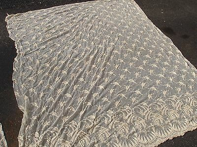THREE Large Antique Panels of Handmade Lace Purpose Unknown Many Yards of Lace