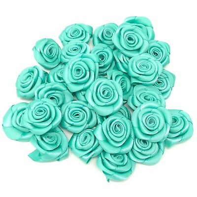Turquoise Satin Ribbon Roses Craft Scrapbooking Shabby Chic 25mm Craft Flower