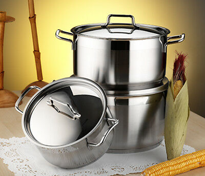 ANETT Large Deep Stainless Steel Casserole Cooking Stock Pot Induction Base