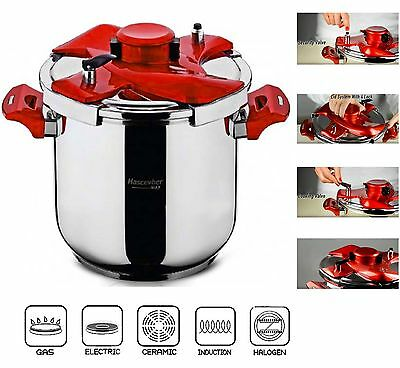 Galaxy Matic Stainless Steel One Hand Pressure Cooker Stockpot Induction Base