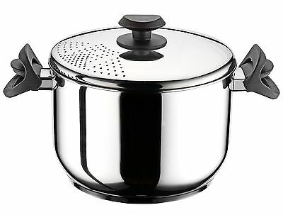 Stainless Steel Pasta Spaghetti Pot With Locking Strainer Lid 22 cm Induction