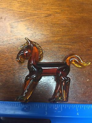 "Vintage Brown Glass Horse Statue Sculpture Figurine  About 2"" X 2.5"""