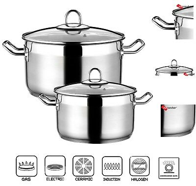 ARBEL Large Deep Stainless Steel Casserole Cooking Stock Pot Induction Base