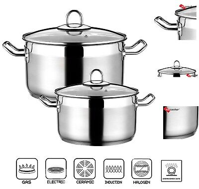 Large Capacity Deep Stainless Steel Casserole Cooking Stock Pot Induction Base