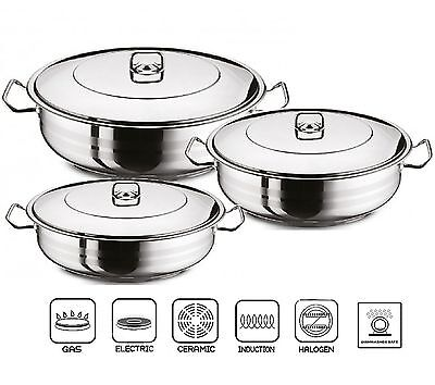 GASTRO Premium Shallow Casserole Pot And Lid Stainless Steel Saute Pan Induction