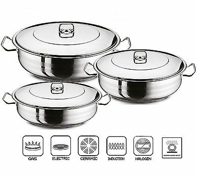 GASTRO Premium Shallow Casserole Pot With Lid Stainless Steel Pan Induction Base