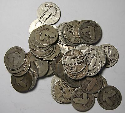 $13.25 face Value - 53 STANDING LIBERTY QUARTER 25¢ Coins Lot# N 432