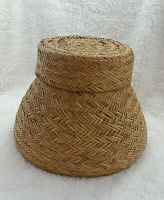 VINTAGE SNAKE CHARMER Woven or Sewing Basket With Lid Unique