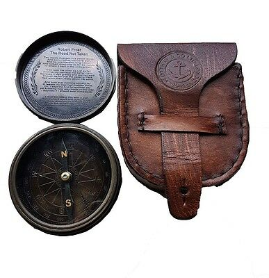 Antique Style W Ottway's Collectible Brass Compass with Leather Case -Large Poem