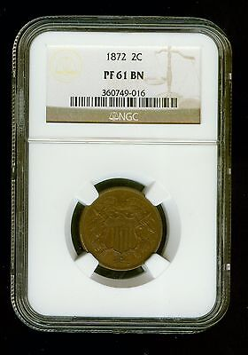 1872  US  Two Cent   2C   NGC  PF61BN    Proof 61 Brown                  C