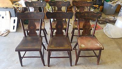 Set of 6 Primitive Country Chairs Folk Art