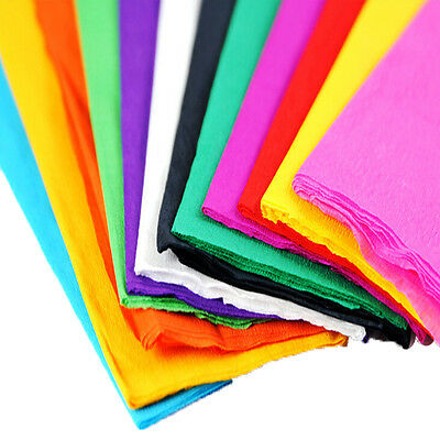 """12x Coloured Crepe Paper Roll Sheets Coloured Craft Paper Florist Paper 35""""x21"""""""