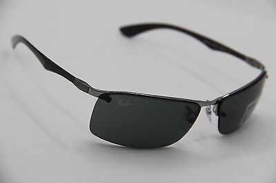 New Ray Ban Rb 8315 004/71 Silver Carbon Fiber Authentic Sunglasses 63-15