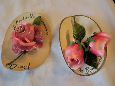 Vintage Millinery Flower Collection Pink Corsage Rosebud Shabby H1387