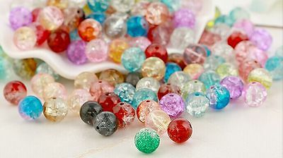 100PCS Wholesale Mixed Crystal Crack Glass Round Loose Spacer Beads Charm 8MM