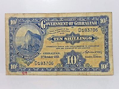 Gibraltar, 10 Shillings 1958, Pick#14b,* Rock of Gibraltar * Circulated Note
