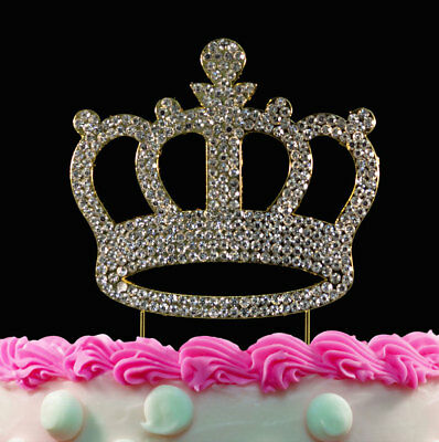 Gold Crown Crystal Bling Princess Birthday Cake Toppers Baby Shower